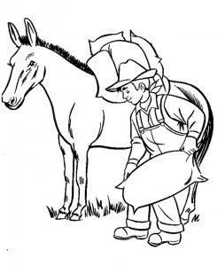 Farmer and horse coloring pages
