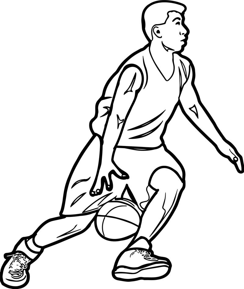 Fast Go Playing Basketball Coloring Page