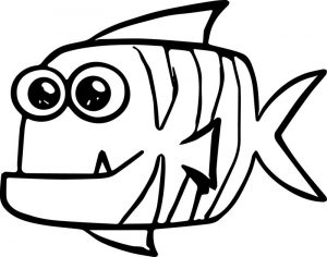 Fat cartoon fish coloring page sheet