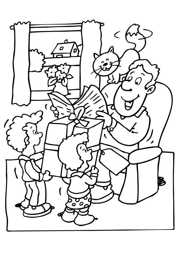 Fathers Day Presents Coloring Page 001