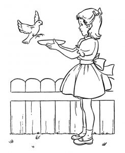 Feed birds in spring coloring page