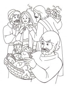 Feeding the multitude bible coloring pages