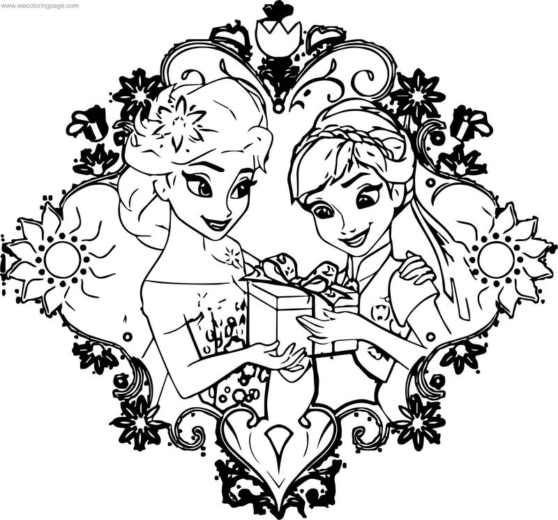 Fever Elsa Anna Gift Coloring Page
