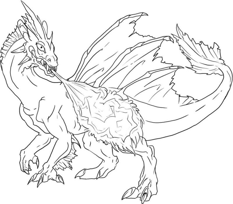 Fiery Dragon Adult Coloring Pages