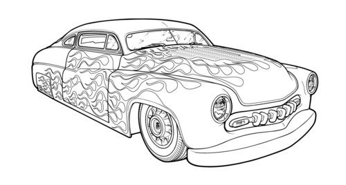 Fire Hot Rod Car Coloring Pages