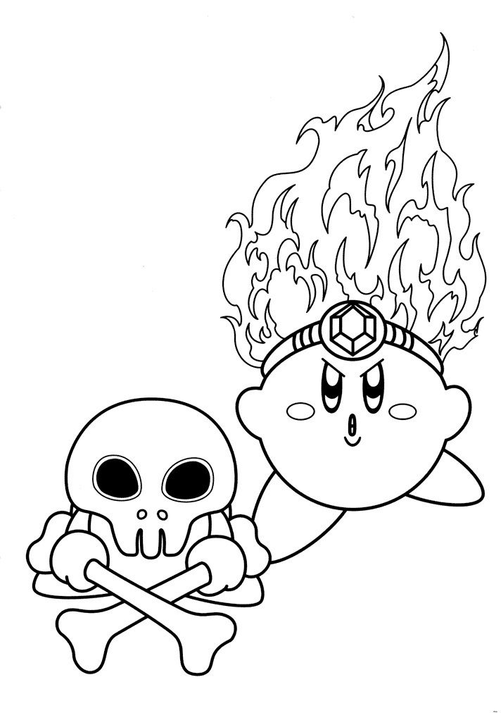 Fire Kirby Coloring Pages 001