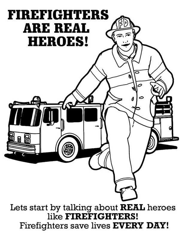 Fire Safety Fire Truck Coloring Sheet