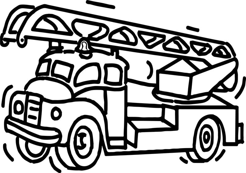 Fire Truck Bold Line Coloring Page