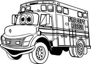 Fire truck fire dept rescue coloring page