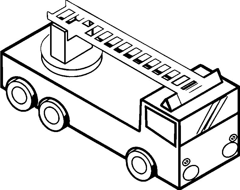 Fire Truck Isometric View Coloring Page