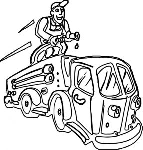 Fire truck washing coloring page