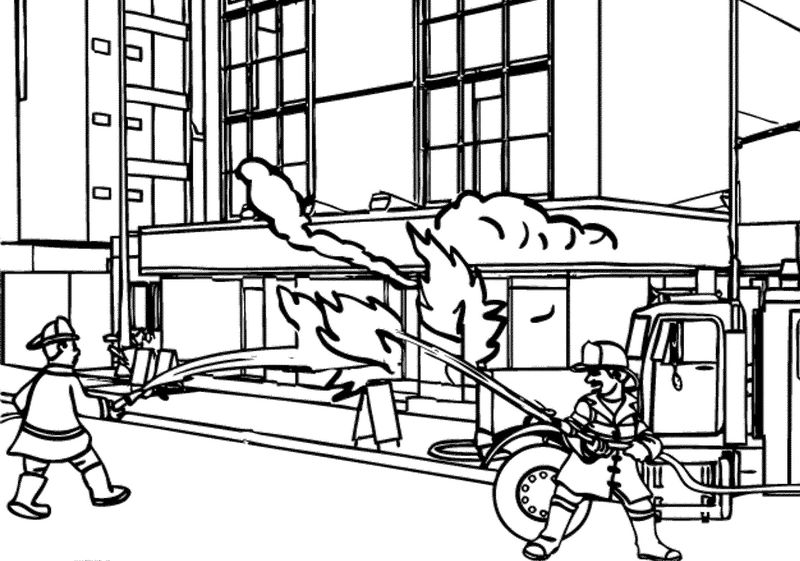 Fireman Rescue Building Coloring Pages - Coloring Sheets