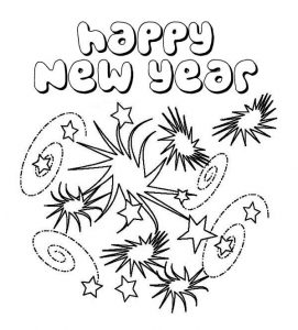 Fireworks happy new year coloring pages