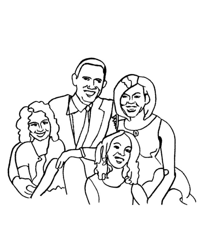 First Family Barack Obama Coloring Pages