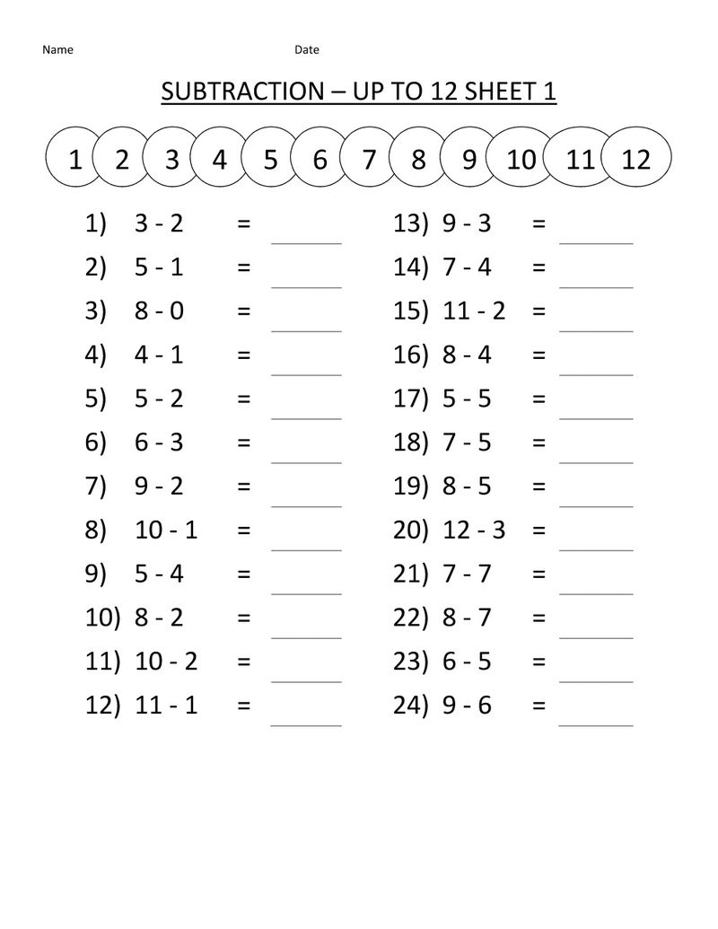 First Grade Math Worksheets Subtraction 001