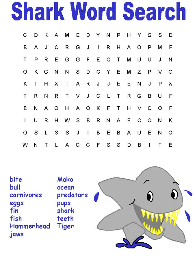 Fish Word Search Shark