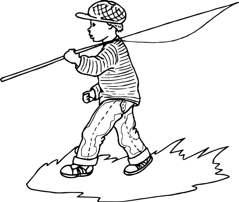 Fishing Boy Coloring Page