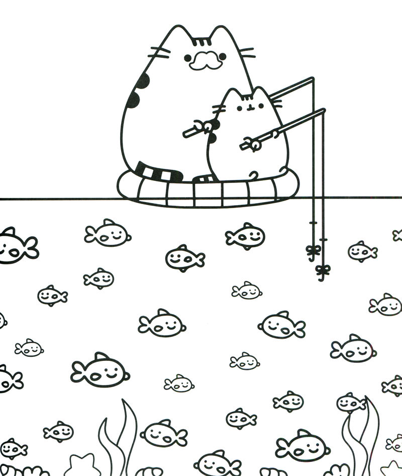 Fishing Pusheen Cat Coloring Pages 001