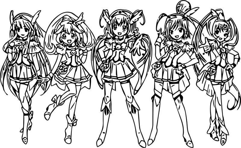 Five Girl Glitter Force Coloring Page