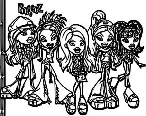 Five girls bratz coloring page