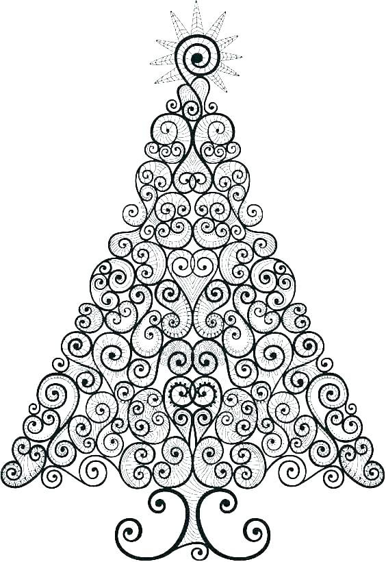 Floral Christmas Tree Coloring Page