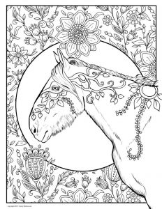 Floral horse coloring pages