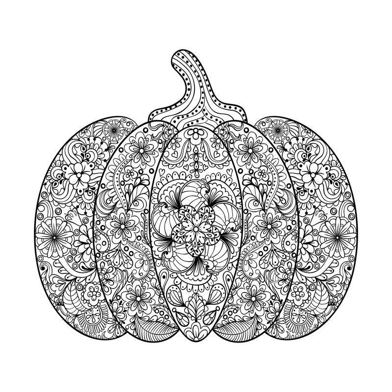 Floral Pumpkin Coloring Pages For Adults