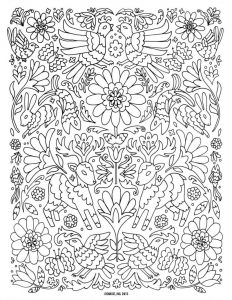 Flower animal design adult coloring