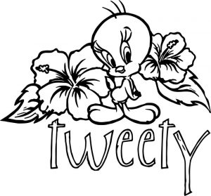 Flower back tweety coloring page