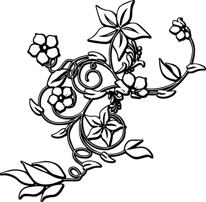 Flower Border Abstract Coloring Page
