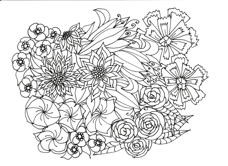 Flower Bouquet Coloring Pages For Adults