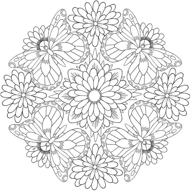Flower Butterfly Pattern Mandala Coloring Pages - Coloring ...
