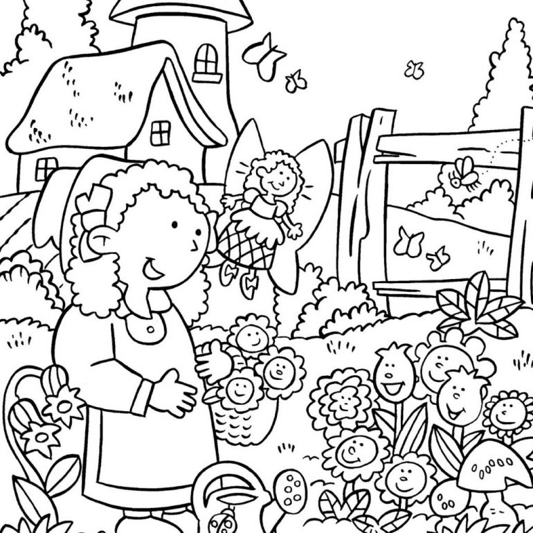 Flower Gardening Coloring Page