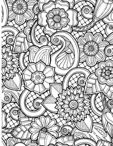 Flower pattern coloring pages for adults