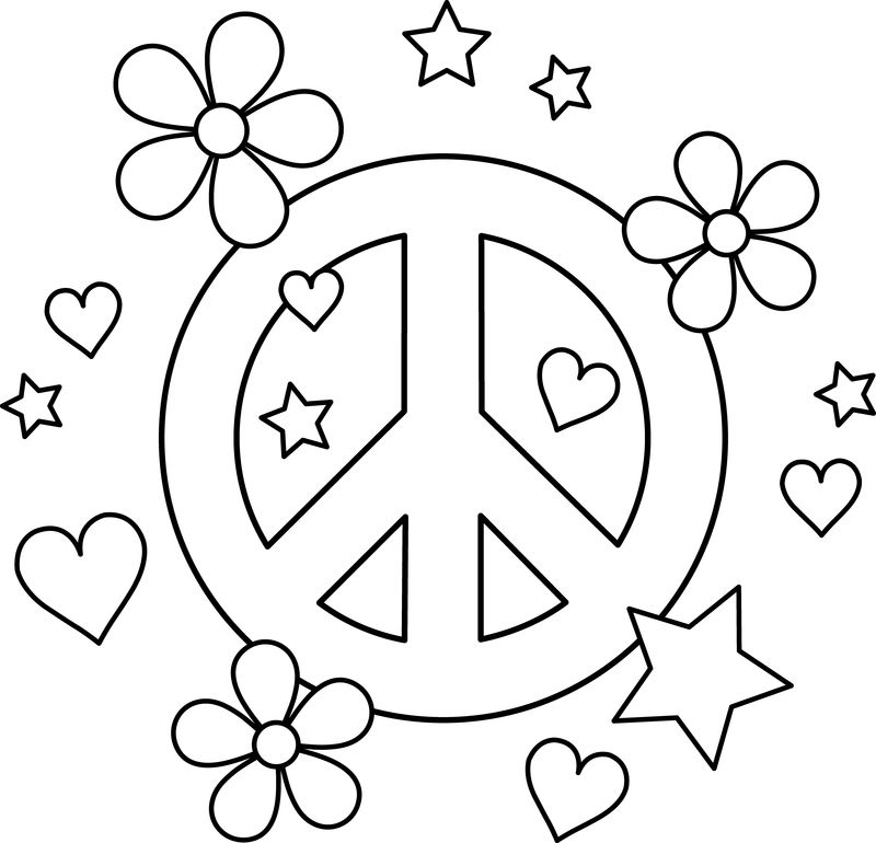 Flower Peace Coloring Page