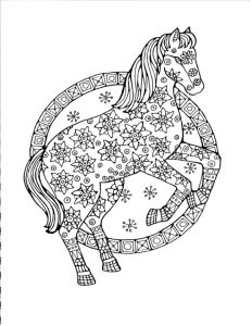 Flowered horse coloring page