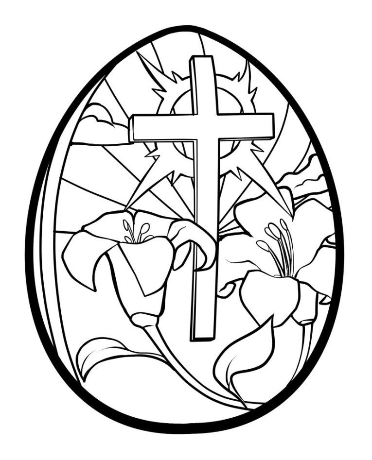 Flowers And Cross Religious Easter Coloring Pages