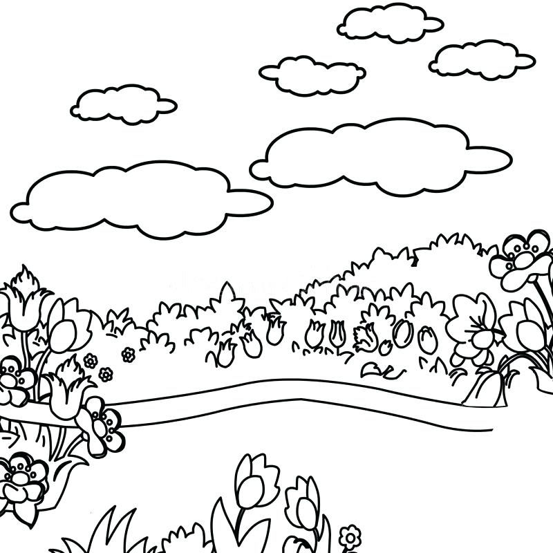 Flowers In Garden Coloring Page