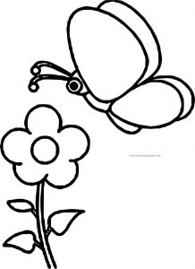 Flowers with butterfly coloring page