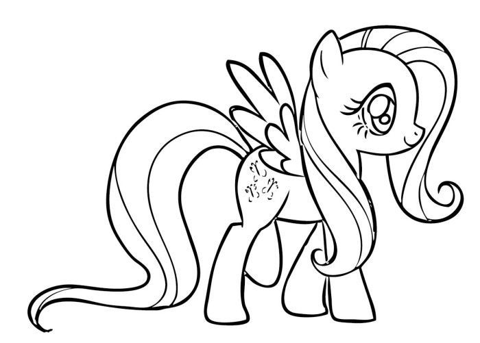 Fluttershy Coloring Pages My Little Pony 001