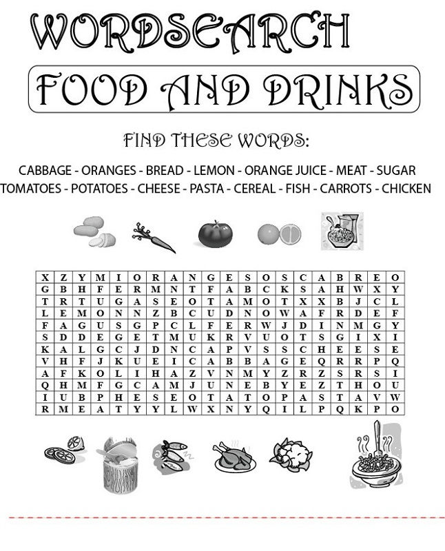 Food Word Search Puzzles Fun