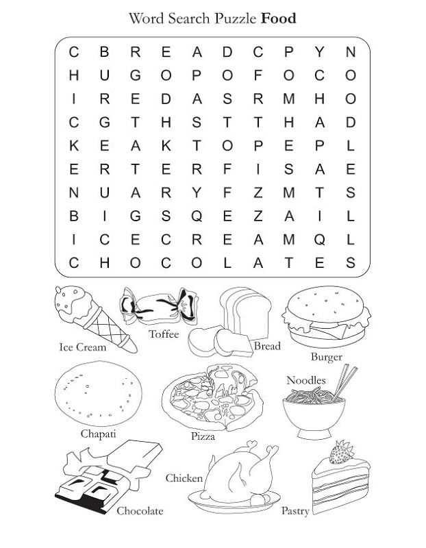 Food Word Search Puzzles Printable