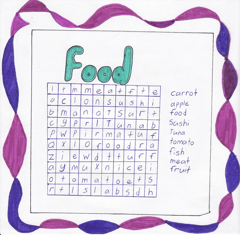Food Word Searches For Kids