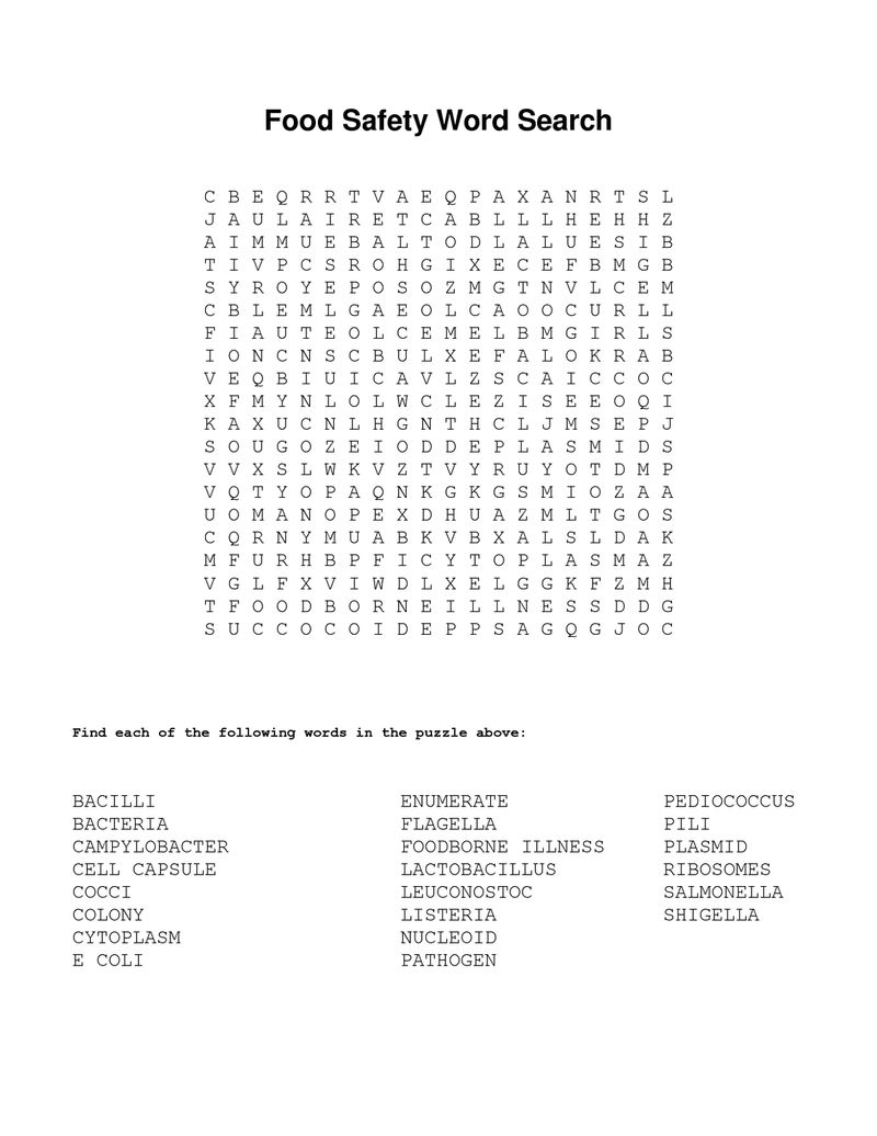 Food Word Searches Healthy