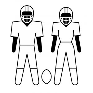 Football coloring activity player clip art 001