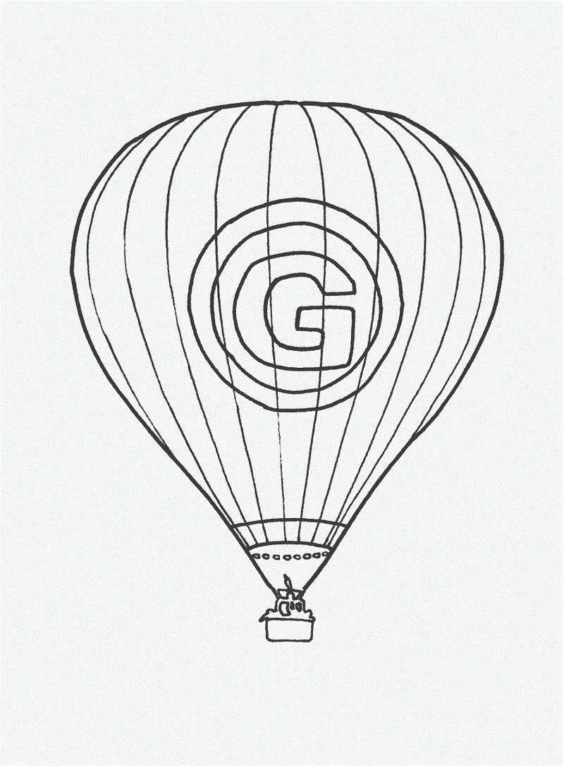 For Kids Hot Air Balloon Coloring Pages
