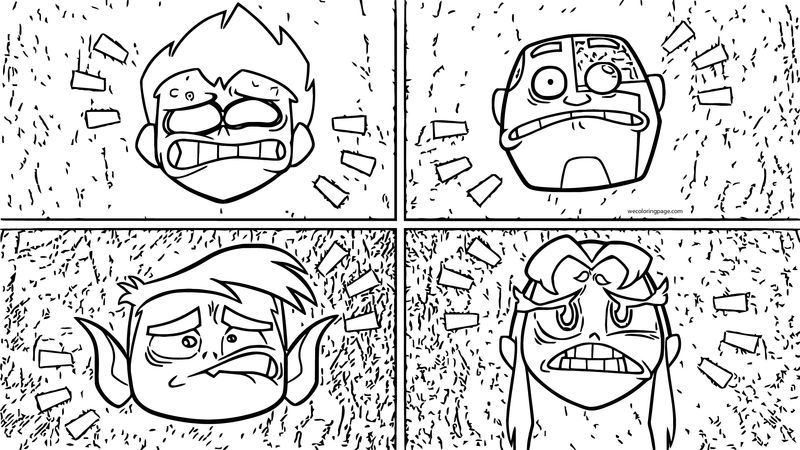 Four Character Teen Titans Go Robin Coloring Page