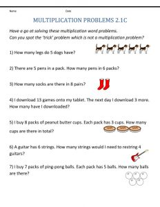 Free 2nd grade math worksheets word problems