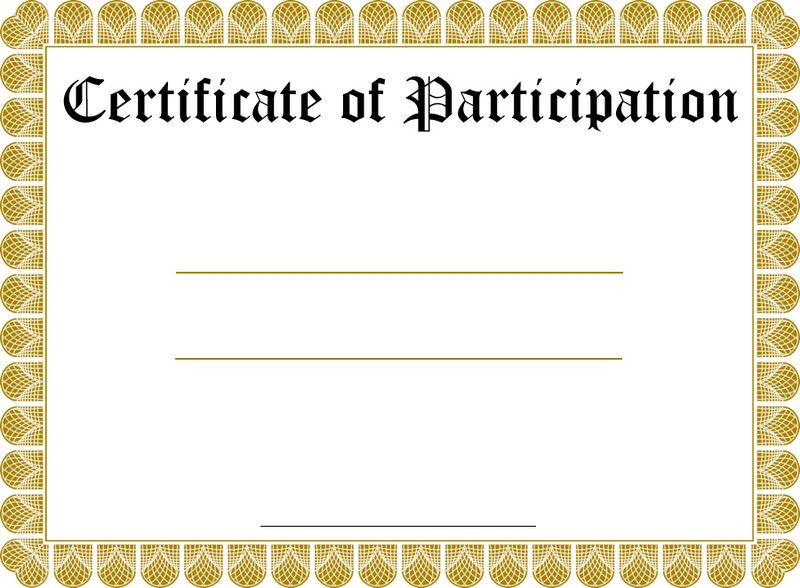 Free Certificate Templates Participation