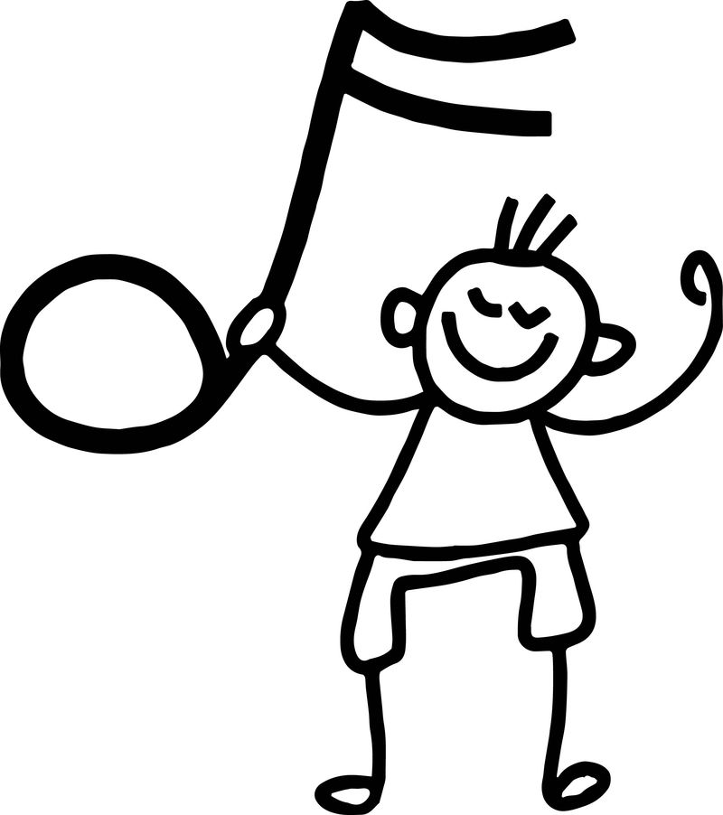 Free Children Listening Song Kids Coloring Page